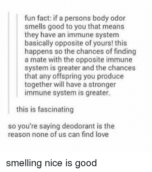 Tumblr, Fun, and System: fun fact: if a persons body odor  smells good to you that means  they have an immune system  basically opposite of yours! this  happens so the chances of finding  a mate with the opposite immune  system is greater and the chances  that any offspring you produce  together will have a stronger  immune system is greater.  this is fascinating  so you're saying deodorant is the  reason none of us can find love smelling nice is good