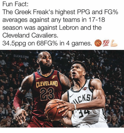 9b64d920284e0a Fun Fact the Greek Freak s Highest PPG and FG% Averages Against Any ...