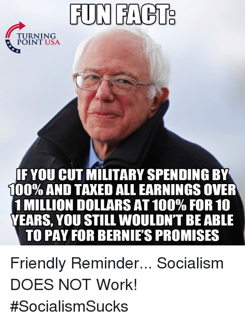Anaconda, Memes, and Work: FUN FACT  TURNING  POINT USA  IF YOU CUT MILITARY SPENDING BY  100% AND TAXED ALL EARNINGS OVER  1 MILLION DOLLARS AT 100% FOR 10  YEARS, YOU STILL WOULDN'T BE ABLE  TO PAY FOR BERNIE'S PROMISES Friendly Reminder... Socialism DOES NOT Work! #SocialismSucks