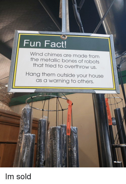 Bones, House, and Fun: Fun Fact!  Wind chimes are made from  the metallic bones of robots  that tried to overthrow us  Hang them outside your house  as a warning to others Im sold