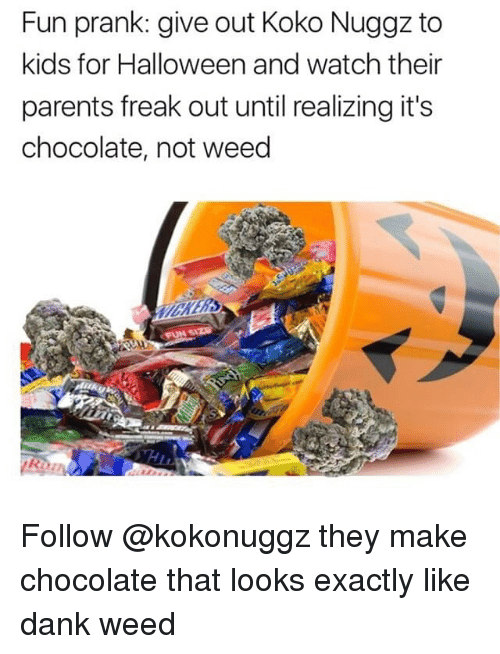 Dank, Funny, and Halloween: Fun prank: give out Koko Nuggz to  kids for Halloween and watch their  parents freak out until realizing it's  chocolate, not weed Follow @kokonuggz they make chocolate that looks exactly like dank weed