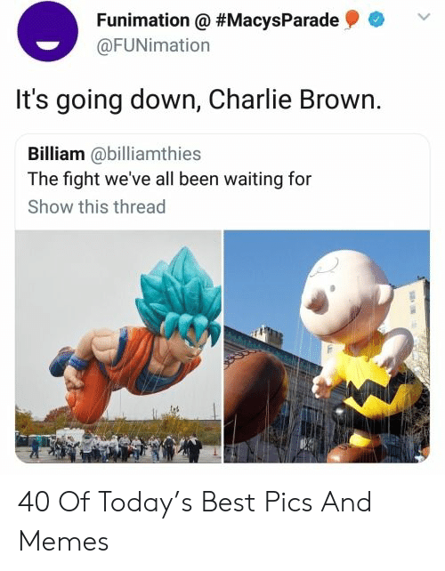 Charlie, Memes, and Best: Funimation @ #MacysParade  @FUNimation  It's going down, Charlie Brown.  Billiam @billiamthies  The fight we've all been waiting for  Show this thread 40 Of Today's Best Pics And Memes