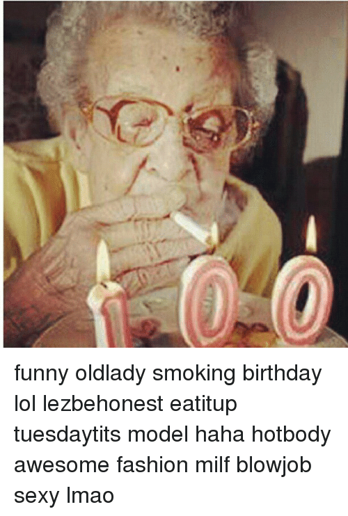 funny old lady smoking