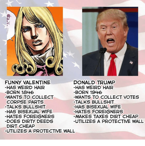 Dank, Doe, and Donald Trump: FUNNY VALENTINE  DONALD TRUMP  HAS WEIRD HAIR  HAS WEIRD HAIR  BORN 1846  BORN 1946  -WANTS TO COLLECT  -WANTS TO COLLECT VOTES  CORPSE PARTS  TALKS BULLSHIT  -TALKS BULLSHIT  HAS BISEXUAL WIFE  HAS BISEXUAL WIFE  HATES FOREIGNERS  HATES FOREIGNERS  MAKES TAXES DIRT CHEAP  DOES DIRry DEEDS  UTILIZES A PROTECTIVE WALL  DIRT CHEAP  UTILIZES A PROTECTIVE WALL