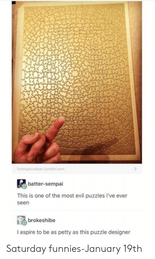 Petty, Tumblr, and Evil: funnypicsdept.tumblr.com  batter-sempai  This is one of the most evil puzzles I've ever  seen  brokeshibe  I aspire to be as petty as this puzzle designer Saturday funnies-January 19th