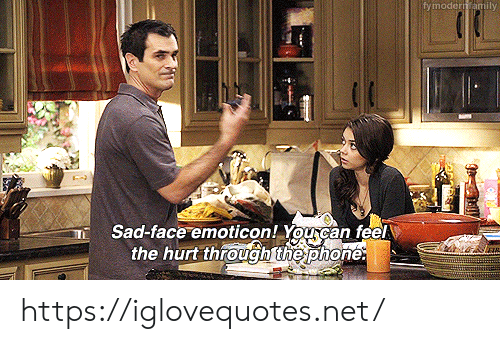 Phone, Sad, and Net: fymodern amily  Sad-face emoticon! You can feel  the hurt through the phone: https://iglovequotes.net/