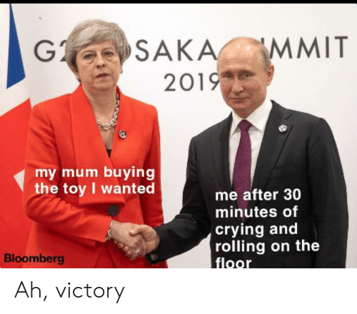 Crying, Bloomberg, and Wanted: G SAKA  2019  MMIT  my mum buying  the toy I wanted  me after 30  minutes of  crying and  rolling on the  floor  Bloomberg Ah, victory