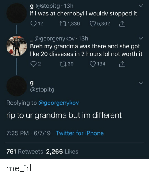 Grandma, Iphone, and Lol: g @stopitg 13h  if i was at chernobyl i wouldv stopped it  12  5,362  t.1,336  @georgenykov 13h  Breh my grandma was there and she got  like 20 diseases in 2 hours lol not worth it  2  L39  134  g  @stopitg  Replying to @georgenykov  rip to ur grandma but im different  7:25 PM 6/7/19 Twitter for iPhone  761 Retweets 2,266 Likes me_irl