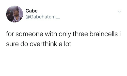 Three, For, and Sure: Gabe  @Gabehatem_  for someone with only three braincells i  sure do overthink a lot