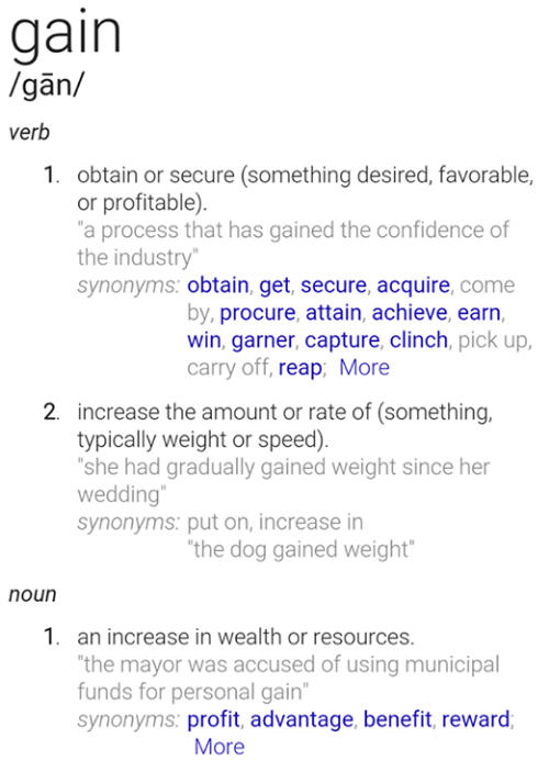 Gain Gan Verb 1 Obtain or Secure Something Desired Favorable
