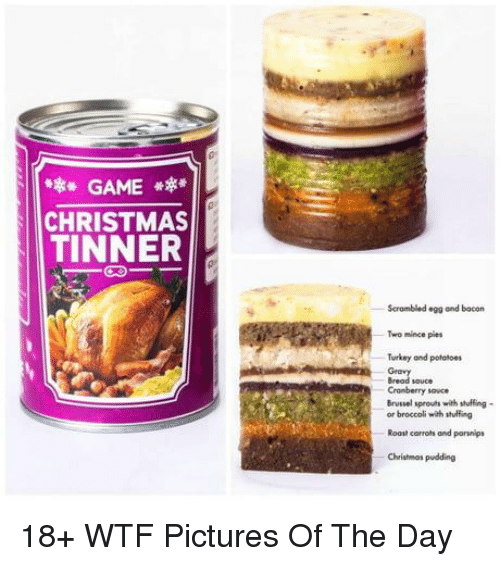 Christmas, Roast, and Wtf: GAME  CHRISTMAS  TINNER  Scrambled egg and bacorn  Two mince pies  Turkey and potatoes  Bread souce  Cramberry sou  Brussel sprouts with stuffing-  or broccoli with stuffing  Roast corrots and parsnips  Christmos pudding 18+ WTF Pictures Of The Day