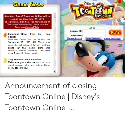 Game News Online Attention Toons Toontown Online Will Be Closing On