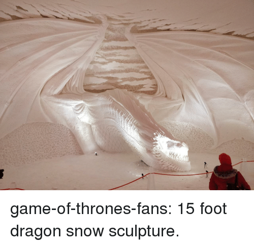 Game of Thrones, Tumblr, and Blog: game-of-thrones-fans:  15 foot dragon snow sculpture.