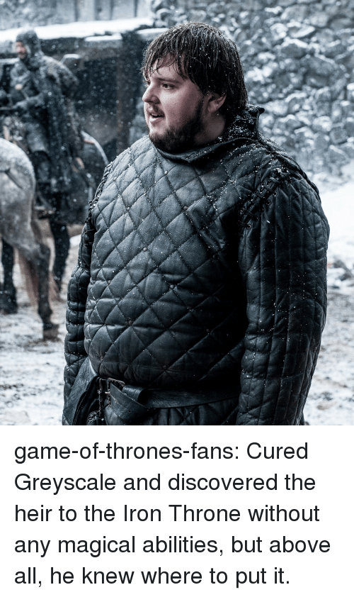 Game of Thrones, Tumblr, and Blog: game-of-thrones-fans:  Cured Greyscale and discovered the heir to the Iron Throne without any magical abilities, but above all, he knew where to put it.