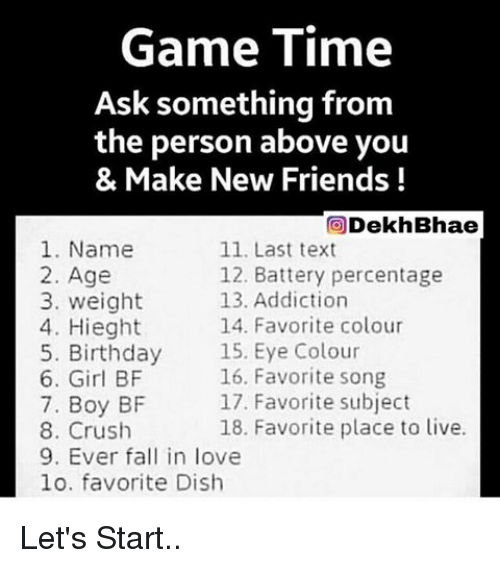 Game Time Ask Something From the Person Above You & Make New