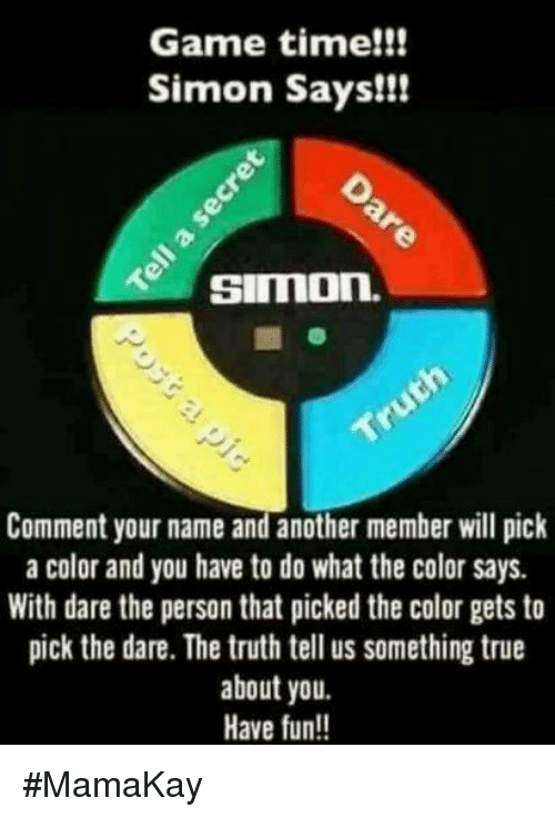 game time simon says simon comment your name and another