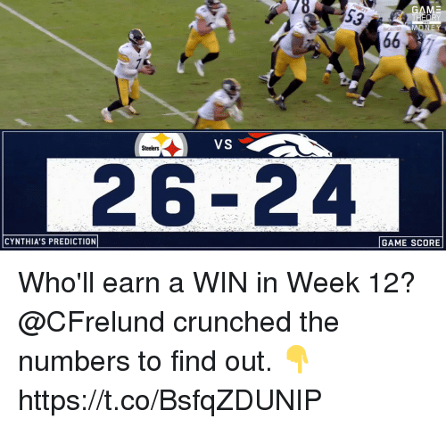 Memes, Game, and Steelers: GAME  VS  Steelers  26-24  CYNTHIA'S PREDICTION  GAME SCORE Who'll earn a WIN in Week 12?   @CFrelund crunched the numbers to find out. 👇 https://t.co/BsfqZDUNIP