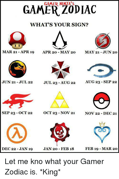 Gamer zodiac whats your sign mar 21 apr 19 apr 20 may 20 may 21 memes mars and zodiac gamer zodiac whats your sign mar 21 apr stopboris Image collections