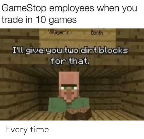 GameStop Employees When You Trade in 10 Games Villager's
