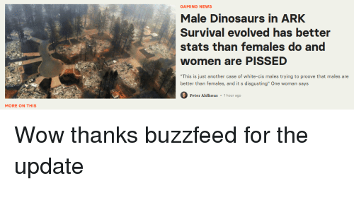 GAMING NEWS Male Dinosaurs in ARK Survival Evolved Has