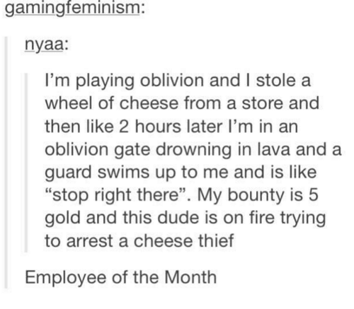 """Dude, Fire, and Humans of Tumblr: gamingfeminism:  nyaa:  I'm playing oblivion and I stole a  wheel of cheese from a store and  then like 2 hours later I'm in an  oblivion gate drowning in lava and a  guard swims up to me and is like  """"stop right there"""". My bounty is 5  gold and this dude is on fire trying  to arrest a cheese thief  Employee of the Month"""