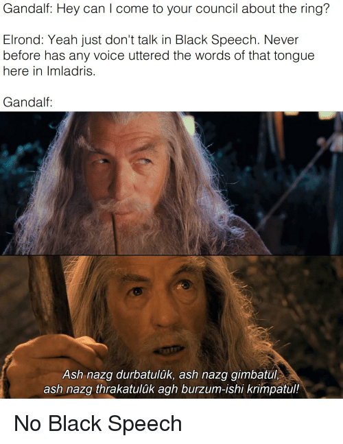 Gandalf Hey Can I Come To Your Council About The Ring Elrond Yeah