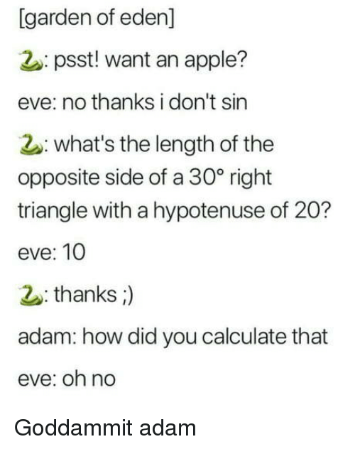 Apple, How, and Eve: [garden of eden]  2: psst! want an apple?  eve: no thanks i don't sin  2: what's the length of the  opposite side of a 30° right  triangle with a hypotenuse of 20?  eve: 10  thanks;)  adam: how did you calculate that  eve: oh no Goddammit adam