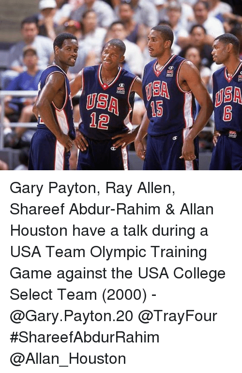 College, Game, and Houston: Gary Payton, Ray Allen, Shareef Abdur-Rahim & Allan Houston have a talk during a USA Team Olympic Training Game against the USA College Select Team (2000) - @Gary.Payton.20 @TrayFour #ShareefAbdurRahim @Allan_Houston
