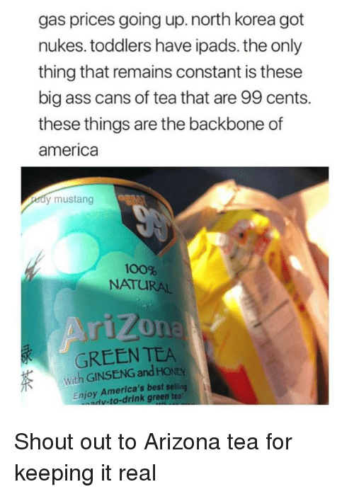 America, Anaconda, and Ass: gas prices going up.north korea got  nukes. toddlers have ipads. the only  thing that remains constant is these  big ass cans of tea that are 99 cents.  these things are the backbone of  america  dy mustang  100%  NATURAL  rizona  GREEN TEA  With GINSENG and HONEY  Enjoy America's best seling  v-to-drink green tea! Shout out to Arizona tea for keeping it real