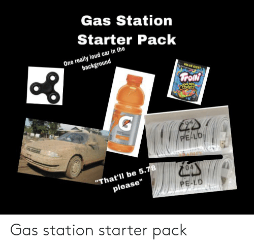 Gas Station Starter Pack One Really Loud Car in the