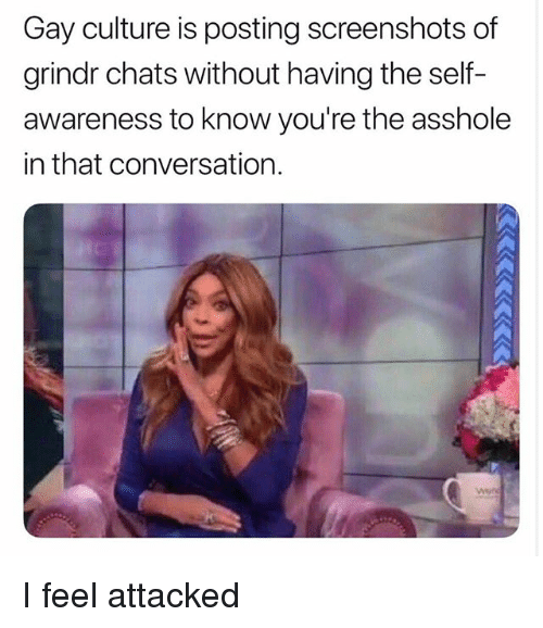 Grindr, Screenshots, and Asshole: Gay culture is posting screenshots of  grindr chats without having the self-  awareness to know you're the asshole  in that conversation. I feel attacked