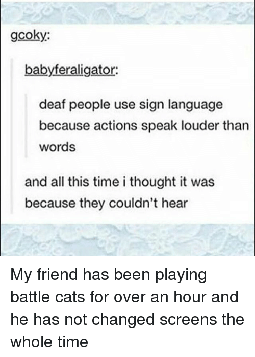 Cats, Memes, and Sign Language: gcoky:  babyferaligator  deaf people use sign language  because actions speak louder than  words  and all this time i thought it was  because they couldn't hear My friend has been playing battle cats for over an hour and he has not changed screens the whole time