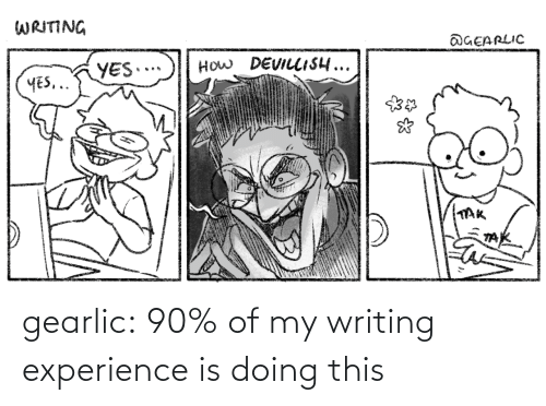 Tumblr, Blog, and Experience: gearlic:  90% of my writing experience is doing this