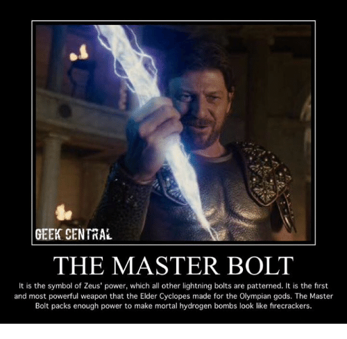 Geek Central The Master Bolt It Is The Symbol Of Zeus Power Which