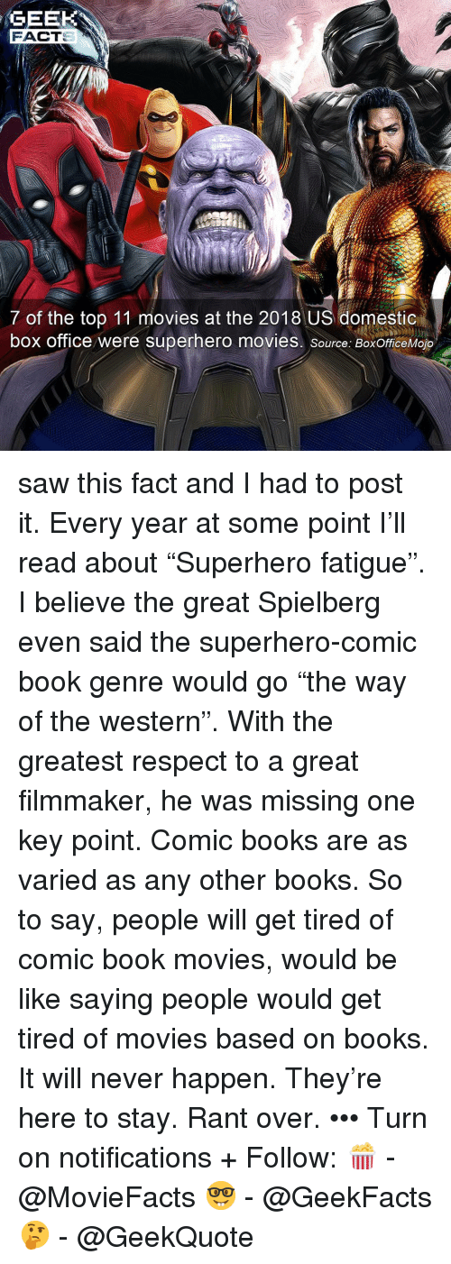 "Be Like, Books, and Memes: GEEK  FACT  7 of the top 11 movies at the 2018 US domestic  box office were superhero movies. source: BoxOfficeMojo saw this fact and I had to post it. Every year at some point I'll read about ""Superhero fatigue"". I believe the great Spielberg even said the superhero-comic book genre would go ""the way of the western"". With the greatest respect to a great filmmaker, he was missing one key point. Comic books are as varied as any other books. So to say, people will get tired of comic book movies, would be like saying people would get tired of movies based on books. It will never happen. They're here to stay. Rant over. ••• Turn on notifications + Follow: 🍿 - @MovieFacts 🤓 - @GeekFacts 🤔 - @GeekQuote"