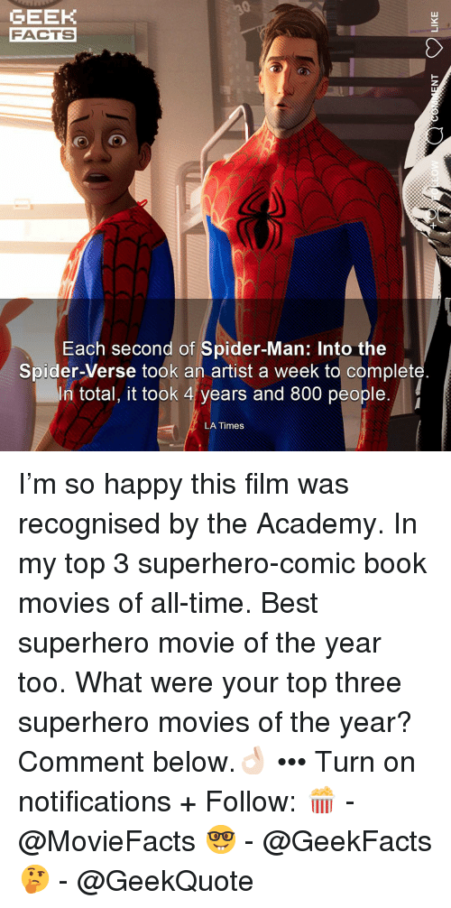 Facts, Memes, and Movies: GEEK  FACTS  Each second of Spider-Man: Into the  Spider-Verse took an artist a week to complet  In total, it took 4 years and 800 people.  LA Times I'm so happy this film was recognised by the Academy. In my top 3 superhero-comic book movies of all-time. Best superhero movie of the year too. What were your top three superhero movies of the year? Comment below.👌🏻 ••• Turn on notifications + Follow: 🍿 - @MovieFacts 🤓 - @GeekFacts 🤔 - @GeekQuote