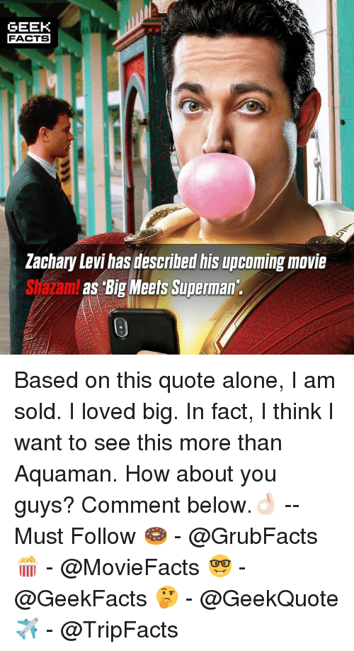 Being Alone, Facts, and Memes: GEEK  FACTS  Lachary Levi hasdbed is upcoming movie  Shazam as Big Meets Superman Based on this quote alone, I am sold. I loved big. In fact, I think I want to see this more than Aquaman. How about you guys? Comment below.👌🏻 --Must Follow 🍩 - @GrubFacts 🍿 - @MovieFacts 🤓 - @GeekFacts 🤔 - @GeekQuote ✈️ - @TripFacts