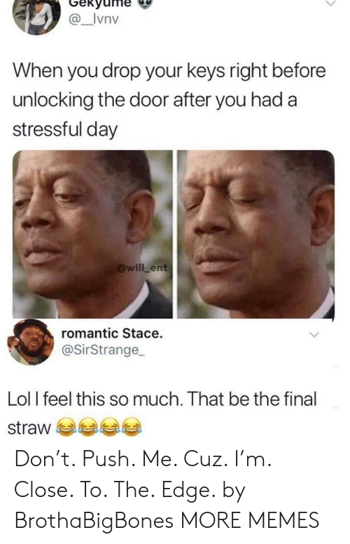 Dank, Lol, and Memes: Gekyume  _Ivnv  When you drop your keys right before  unlocking the door after you had a  stressful day  @will ent  romantic Stace.  @SirStrange  Lol I feel this so much. That be the final  straw Don't. Push. Me. Cuz. I'm. Close. To. The. Edge. by BrothaBigBones MORE MEMES