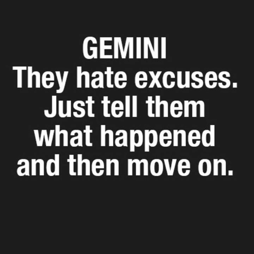 Gemini, Them, and Move: GEMINI  They hate excuses.  Just tell them  what happened  and then move on.