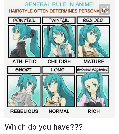 General Rule In Anime Hairstyle Often Determines Personality