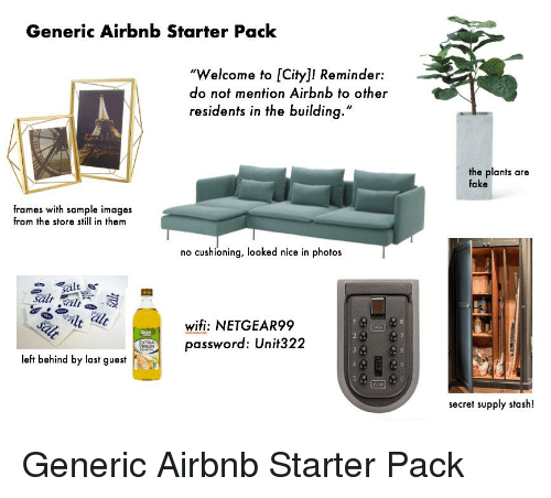 Generic Airbnb Starter Pack Welcome to City! Reminder Do Not