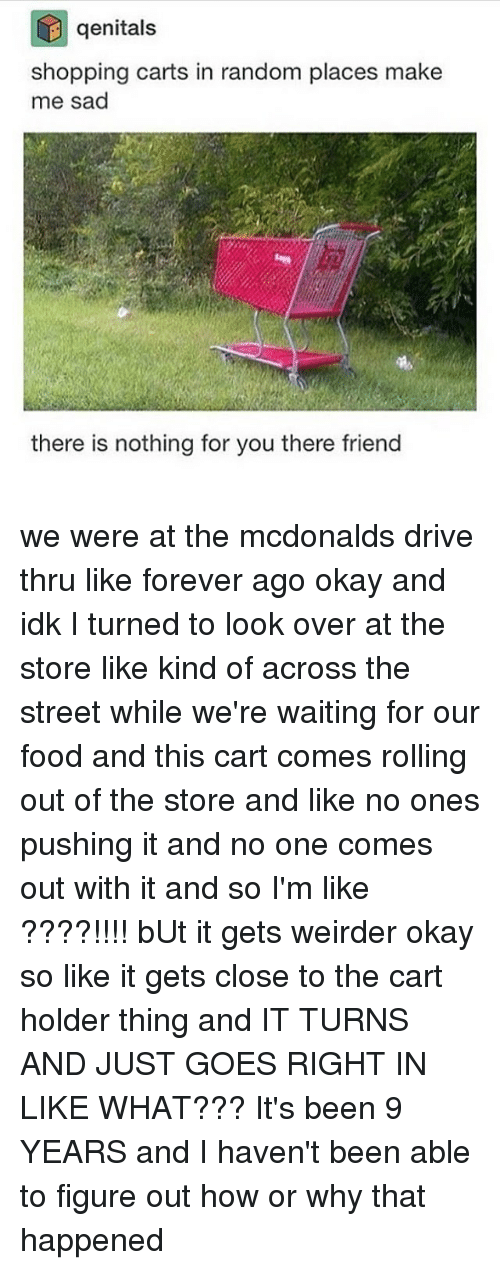 Driving, McDonalds, and Memes: genitals  shopping carts in random places make  me sad  there is nothing for you there friend we were at the mcdonalds drive thru like forever ago okay and idk I turned to look over at the store like kind of across the street while we're waiting for our food and this cart comes rolling out of the store and like no ones pushing it and no one comes out with it and so I'm like ????!!!! bUt it gets weirder okay so like it gets close to the cart holder thing and IT TURNS AND JUST GOES RIGHT IN LIKE WHAT??? It's been 9 YEARS and I haven't been able to figure out how or why that happened