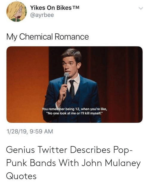 Pop, Twitter, and Genius: Genius Twitter Describes Pop-Punk Bands With John Mulaney Quotes