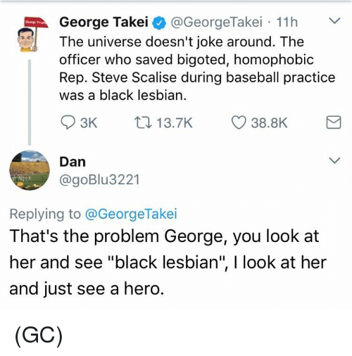 """Baseball, Memes, and Black: George Takei  @GeorgeTakei 11h  The universe doesn't joke around. The  officer who saved bigoted, homophobic  Rep. Steve Scalise during baseball practice  was a black lesbian.  S 3K  38.8K  13.7K  Dan  @goBlu 3221  Replying to @George Takei  That's the problem George, you look at  her and see """"black lesbian"""", l look at her  and just see a hero. (GC)"""