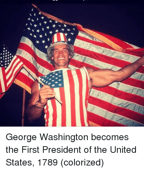 George Washington, United, and United States: George Washington becomes the First President of the United States, 1789 (colorized)