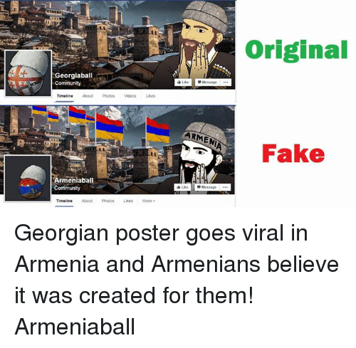 Georgiaball Community Timeline Armenia Ba Community Timeline About Photos Likes More Armenia Like Message Original Fake Georgian Poster Goes Viral In Armenia And Armenians Believe It Was Created For Them Armeniaball