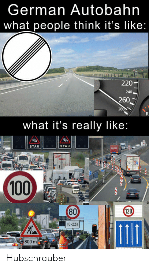 German Autobahn What People Think It's Like 220 240 260 What