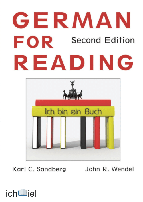 German (Language), Ich_iel, and German: GERMAN  FOR Second Edition  READING  Ich bin ein Buch  Karl C. Sandberg  John R. Wendel ich📖iel