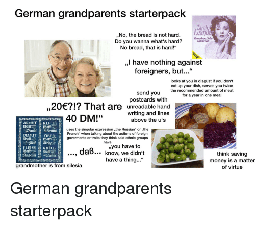 German Grandparents Starterpack Drd No the Bread Is Not Hard