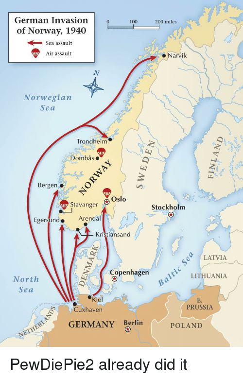 Map Of Germany 1940.German Invasion100200 Miles Of Norway 1940 Sea Assault Air Assault